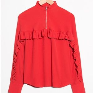 Red Frill Ruffle Blouse w Zip